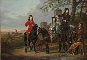 Ruiterportret van Michiel Pompe van Meerdervoort (1638-1653) en Cornelis Pompe van Meerdervoort (1639-1680) met hun rijmeester en een knecht