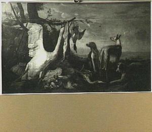 Jachtstilleven met zwaan en honden in een landschap