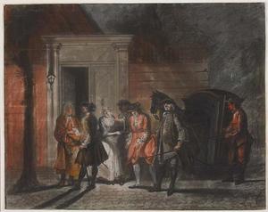 Nachtelijke scène met een man onder arrest