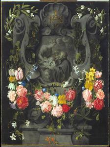 Gebeeldhouwde cartouche versierd met bloemen rondom een voorstelling van de Maagd Maria met het Christuskind en de heilige Ignatius van Loyola