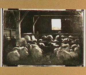 Interieur van een schapenstal