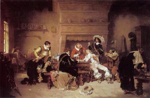 Drinkende en kaartspelende soldaten in een wachtlokaal