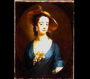 Portret van een vrouw met strohoed