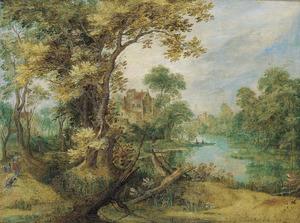 Landschap met een jager op een pad langs een rivier