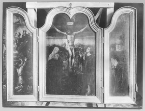 Maria verschijnt aan een bisschop (links); de kruisiging (midden); portret van de stichter (rechts)