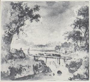 Vee op een houten brug over een waterval