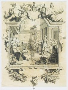 Minerva in een atelier waar zijden stoffen worden vervaardigd, in omlijsting met de stedenmaagd  Amsterdam