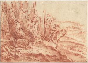 Landschap met honden en een vos