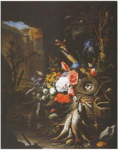 Stilleven met bloemen, vissen en een vogelnest