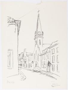 Gezicht op de kerktoren in Brielle