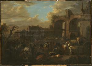 Zuidelijk landschap met figuren, paarden en vee vóór de ruïne van de basilica van Constantijn