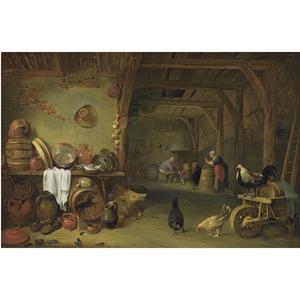 Stalinterieur met stilleven en in de achtergrond een boerenfamilie