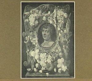 Cartouche versierd met vruchten rond een voorstelling van Bacchus