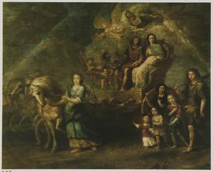 Portrait historié van een familie als Griekse goden omringd door allegorische figuren