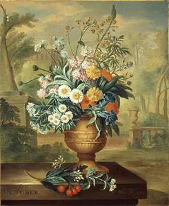 OCTOBER-Bloemstilleven in een vaas, op een marmeren piëdestal, voor een landschap met rechts een balustrade met daarop een urn