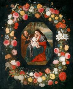 Heilige Familie in een bloemenkrans