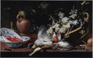 Stilleven met gevogelte, een mand met druiven en rivierkreeftjes in een porseleinen schaal