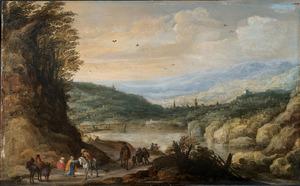 Gezicht op een bergmeer; op de voorgrond reizigers