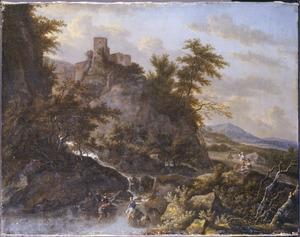 Berglandschap met vissers bij een waterval en een hooggelegen kasteel