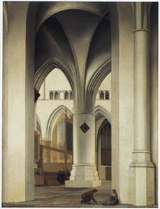 Gezicht op het koor van de St. Bavokerk te Haarlem, vanuit de Kerstmiskapel gezien