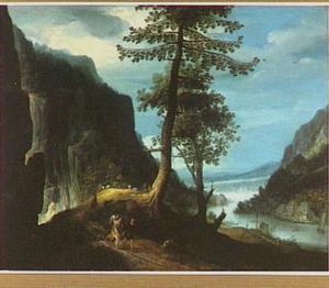 Bergachtig rivierlandschap met Tobias en de engel (Tobit)