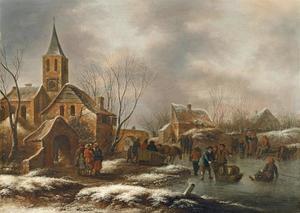 Winterlandschap met figuren buiten een dorp