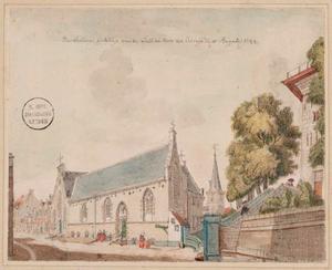 Bartholomeus Gasthuis of Bartholomeïgasthuis in Utrecht, met rechts de Smeetoren en op de achtergrond de toren van de Geertekerk