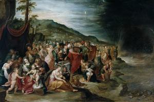 Mozes en de Israëlieten met de lijkkist van Jozef op de oevers van de Rode Zee en de ondergang van farao's leger (Exodus 14: 22-31)