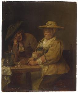 Een jonge man en een tabak snijdende vrouw aan een tafel