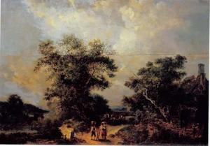 Landweg met wandelaars