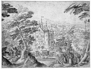 Heuvelachtig landschap met kasteel