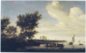 Rivierlandschap met aan de horizon Alkmaar