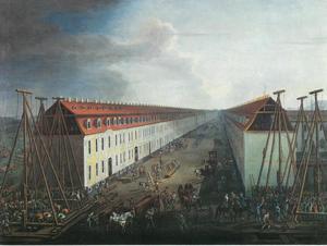 De aanleg van huizen in een straat in Berlin-Friedrichstadt