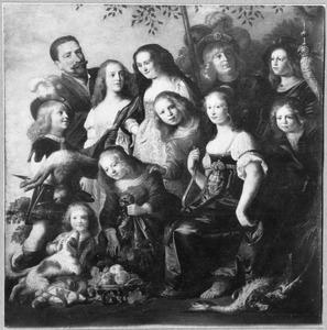 Portret van een familie met attributen van de jacht