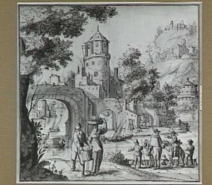 Rivierlandschap met fortificaties en figures