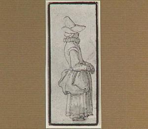 Staande vrouw met hoed, en profil