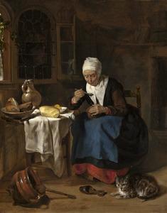 Pap etende oude vrouw