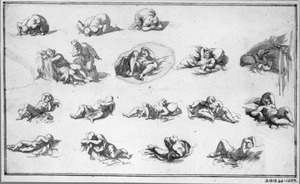 Knielende en liggende figuren
