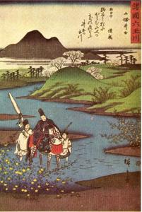 De kristalheldere rivier Ide in de provincie Yamashiro, één uit een serie van zes Kristalheldere rivieren