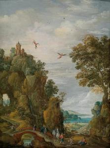 Bergachtig rivierlandschap met de val van Icarus (Ovidius, Metamorfosen 8: 183-235)