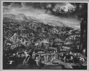 Landschap met gezicht op Rome