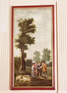 Landschap met spelende kinderen en schapen