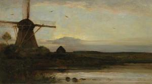 Oostzijdse mill with extended light blue, yellow and violet sky