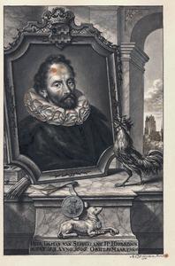 Portret van Dammas van Slingelandt (1553-1606), met in de achtergrond de Grote Kerk in Dordrecht