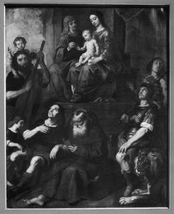 De Madonna omringd door diverse heiligen