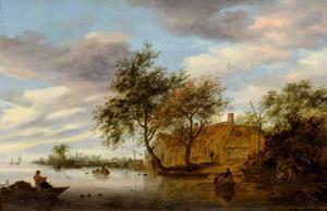 Rivierlandschap met boten en een boerderij