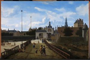 Gezicht op de Anthonispoort van Amsterdam met de Zuiderkerk in de verte