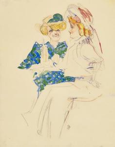 Twee vrouwen aan een cafétafel