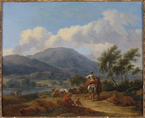 Italianiserend landschap met rustend vee bij een rivier