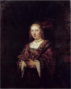 Portret van een vrouw met waaier